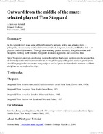 Outward from the Middle of the Maze: Selected Plays of Tom Stoppard
