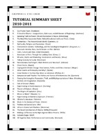 Tutorial summary sheet 2010-2011