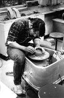 Student Working in a Pottery Class