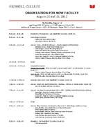 Orientation for New Faculty : August 15 and 16, 2012
