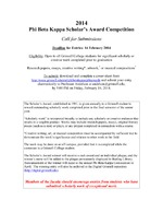 2014 Phi Beta Kappa Scholar's Award Competition