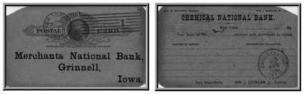 Postcard from Chemical National Bank to Merchants National Bank