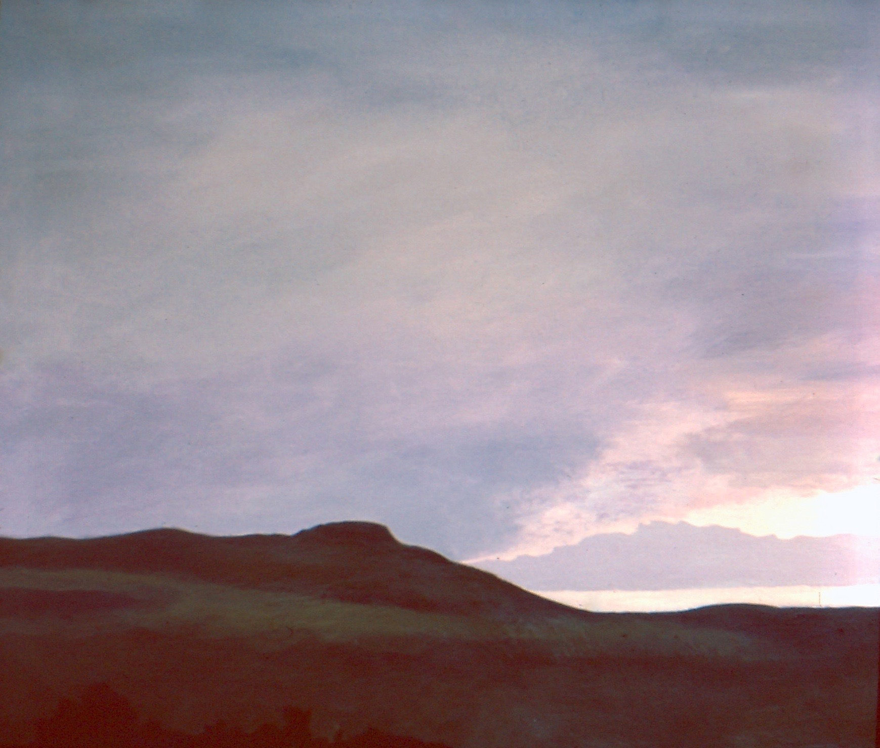 """""""Storm in the Flint Hills,"""" Acrylic on canvas, 24 x 30 inches, by Jane Pronko, 1975"""