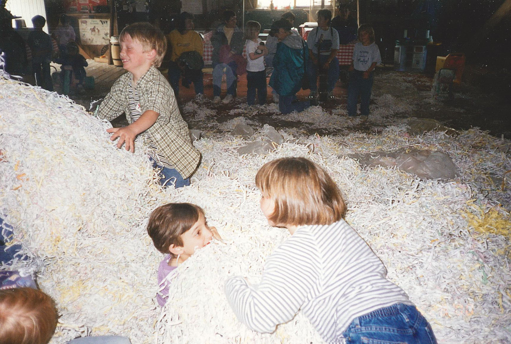 Chick-hatching time at the Moyers' farm always meant there was shredded paper for visiting kids to jump in