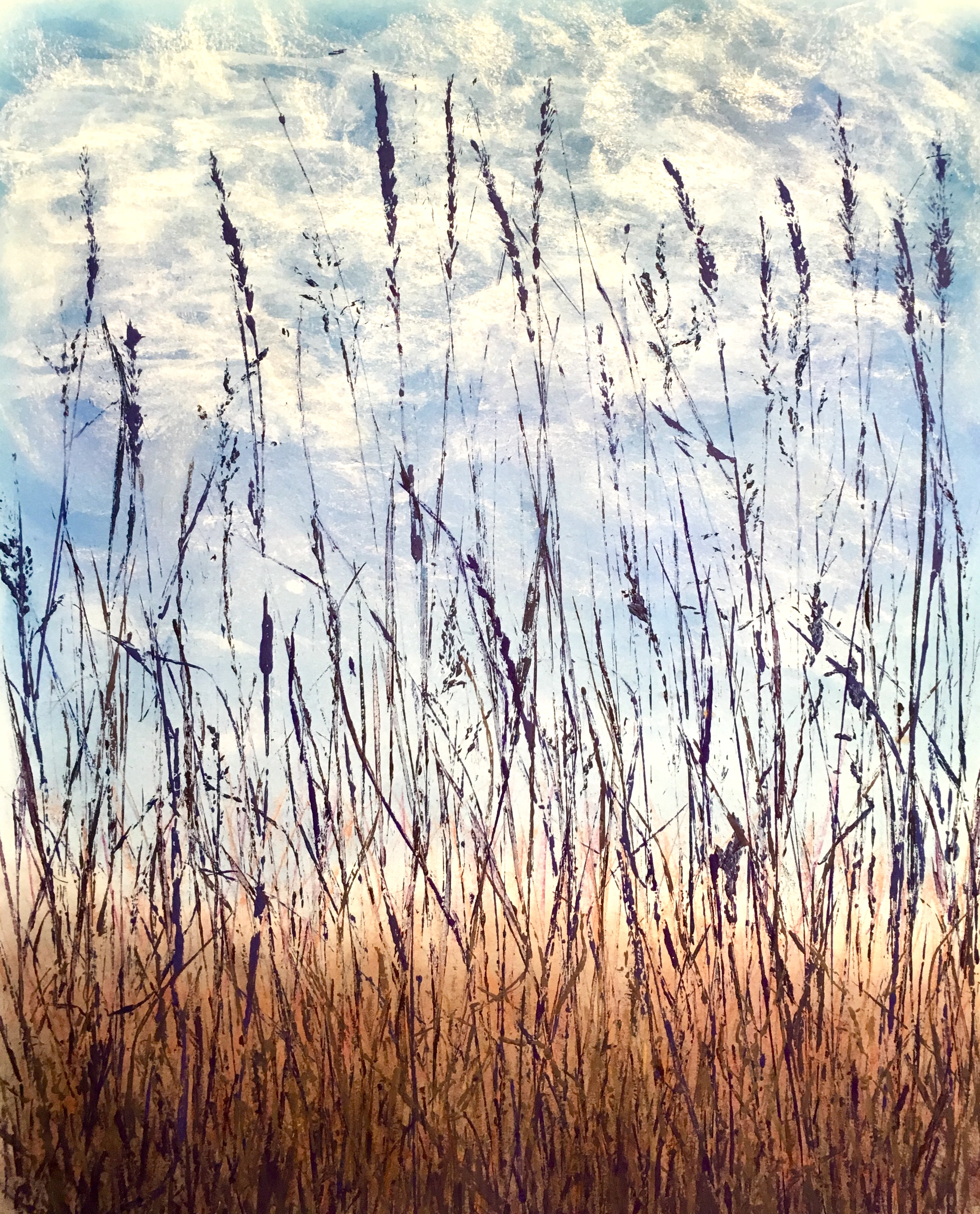 Alley Grass (botanical printmaking on paper with chalk pastel background, 2018)