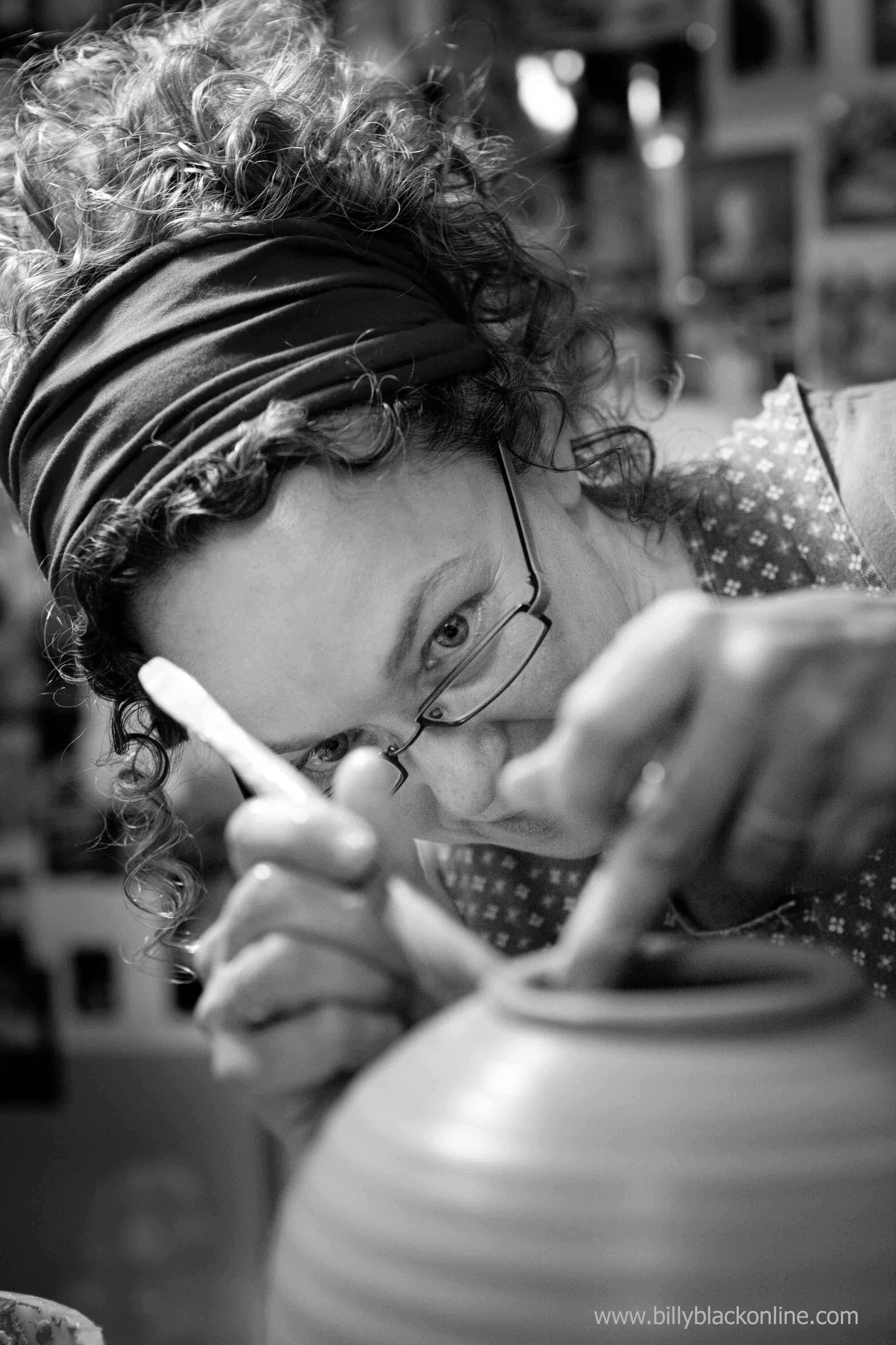 Smith at the wheel in her shop. Photo by Billy Black