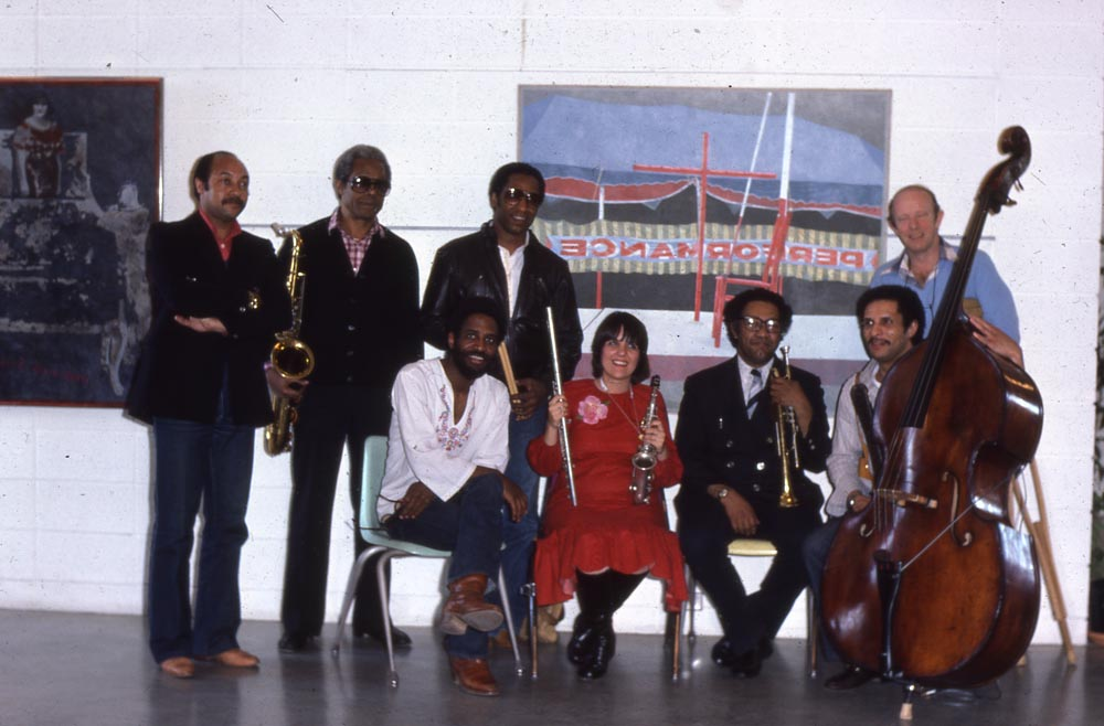 Members of the Jazz Artists in the schools program, standing in the back row, from left ot right, they are Kenny Barron, Charlie Rouse, Horace Arnold and Willie Thomas; seated are (from left to right) Dartanyan Brown, Marcia Miget, Jim Fielder and Larry Ridley