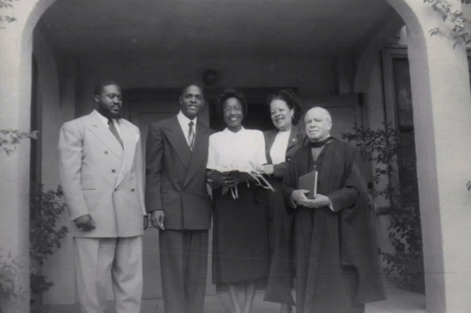 Dartanyan Brown's parents, Ellsworth T. and Mary Alice Brown (in the middle of the picture), on their wedding day in Los Angeles