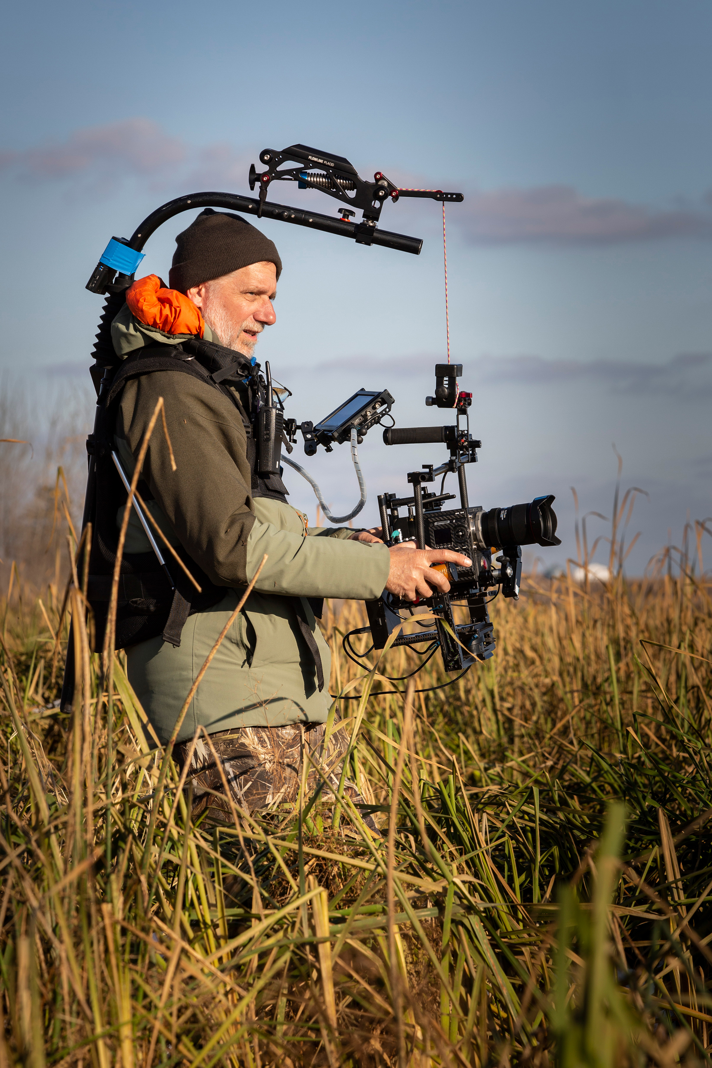 Filming with a steadycam. Photo courtesy of the Max McGraw Wildlife Foundation