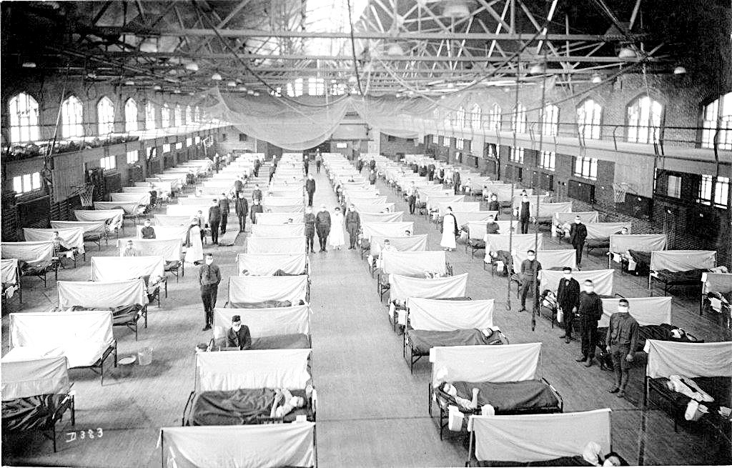 In 1918, the Iowa State University Fieldhouse was converted into a hospital for victims of the Spanish Flu. Photo courtesy of the State of Iowa Historical Society adn the Annals of Iowa
