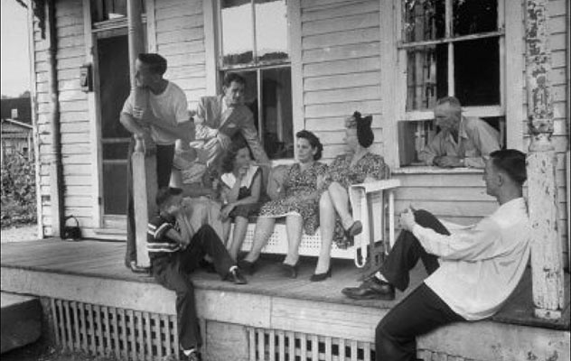 Front porch society, as it used to be. [Photo](https://lh6.googleusercontent.com/-DZNr9XtsHdA/U9AMwkVL8XI/AAAAAAAABOc/IUpT33dYpmI/s640/blogger-image-888189267.jpg) courtesy of Daphne Lockett's Blog, [Ramblings](http://daphnelockett.blogspot.com/2014/07/front-porch-sittin.html)