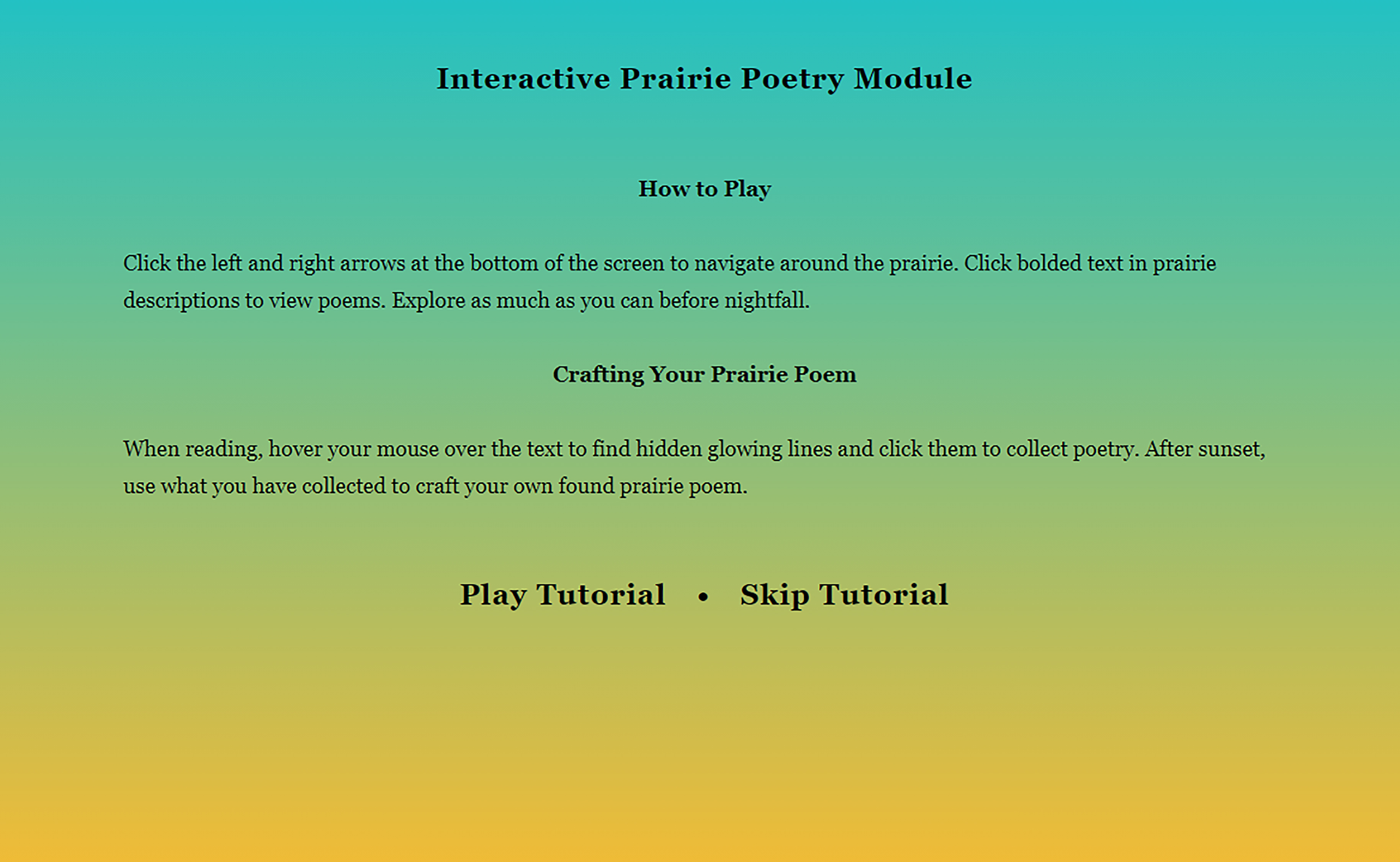 Click the image above to play the Interactive Prairie Poetry Module