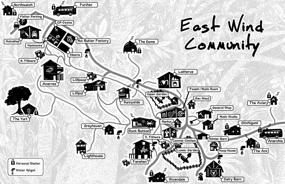 The East Wind Community is located in the foothills of the Missouri Ozarks. Map courtesy of the East Wind Community