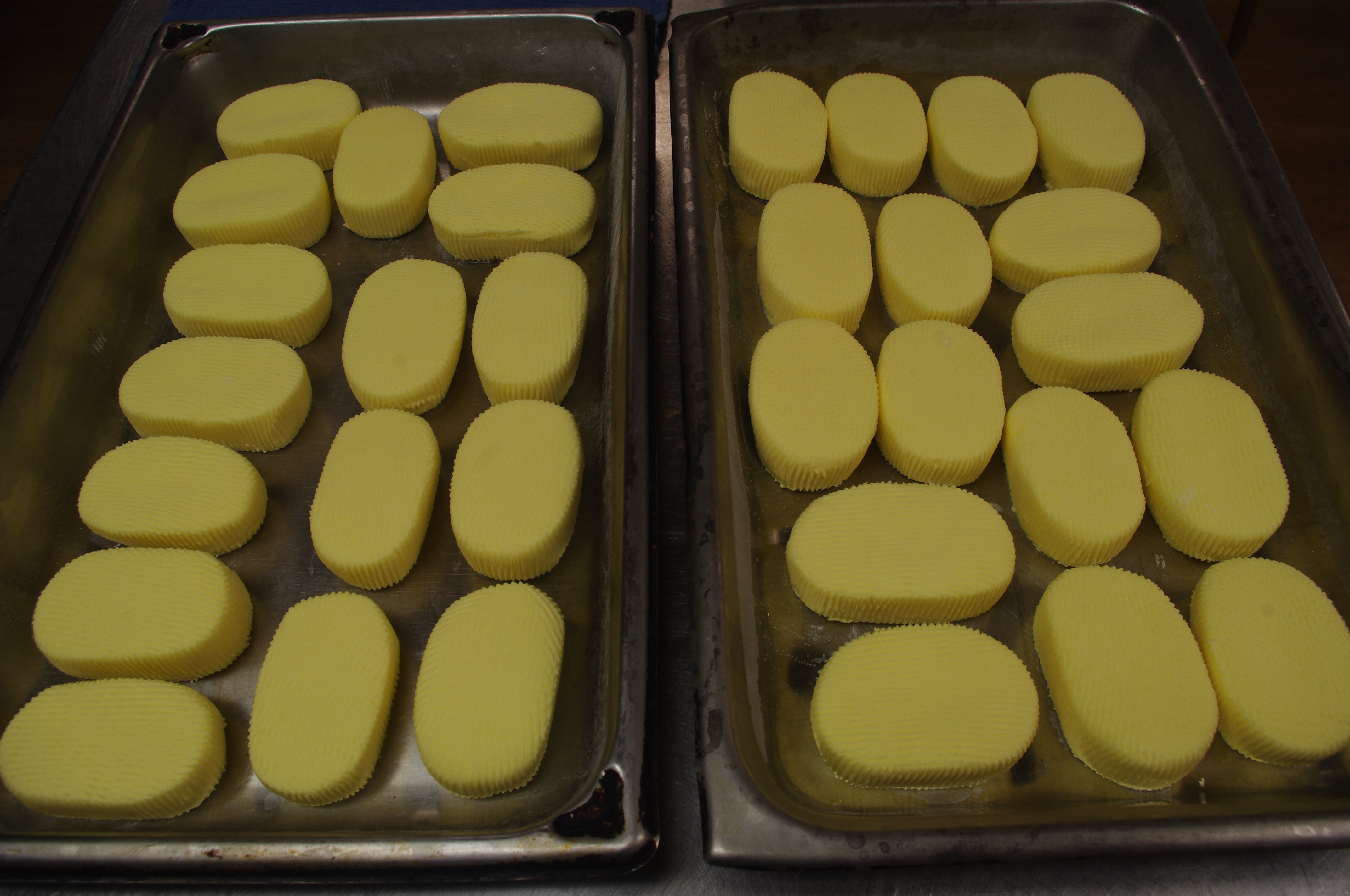 Ages made the cakes of butter above using cream from the Community's cows