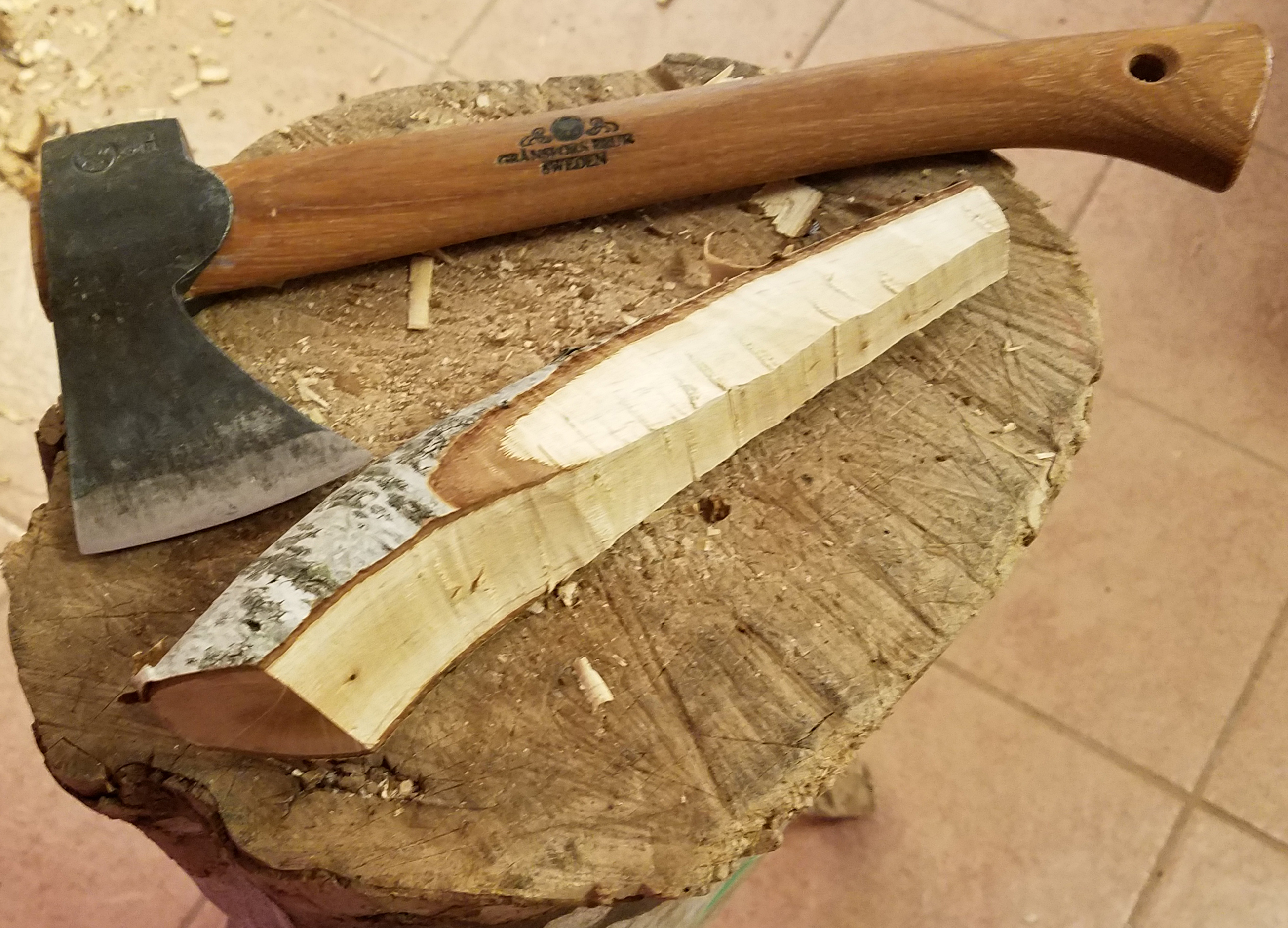 A birch-blank roughed out with an axe