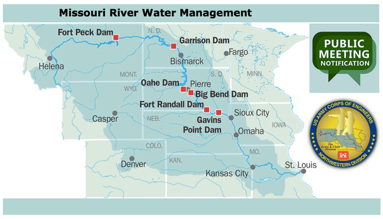 Map of the Missouri River region courtesy of the United States Army Corps of Engineers