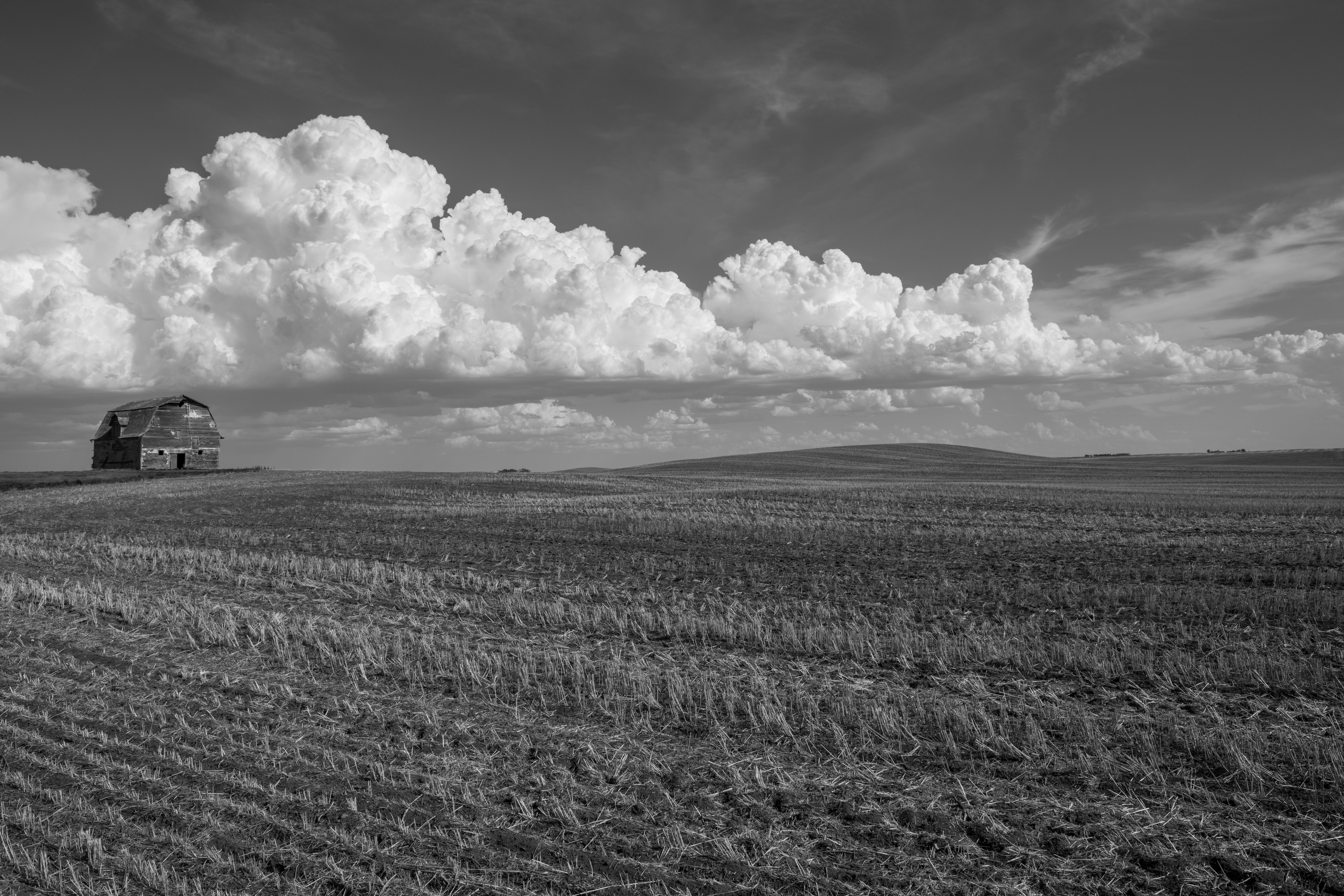 Barn and cumulus clouds, Saskatchewan
