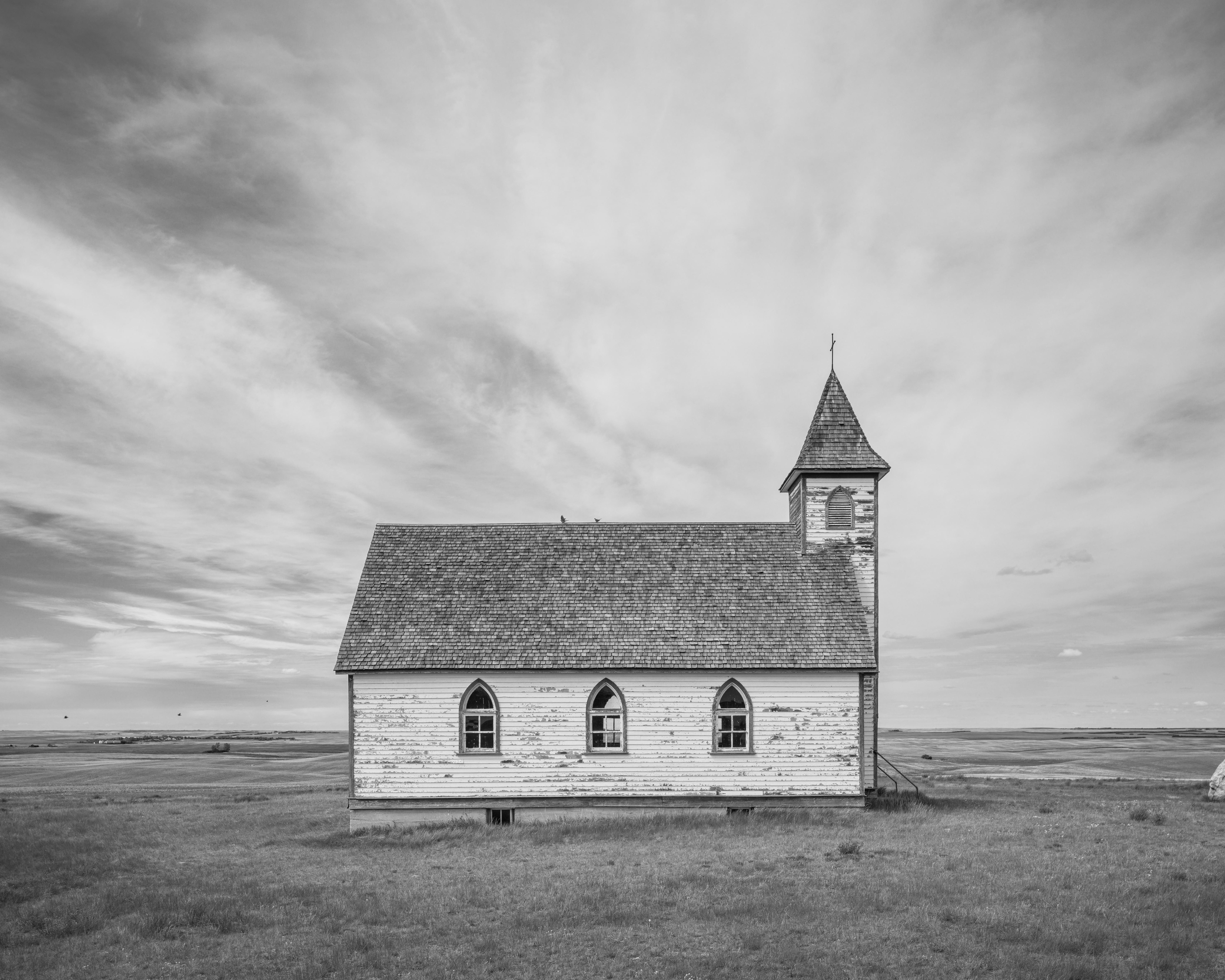 Weathered Lutheran church, Saskatchewan