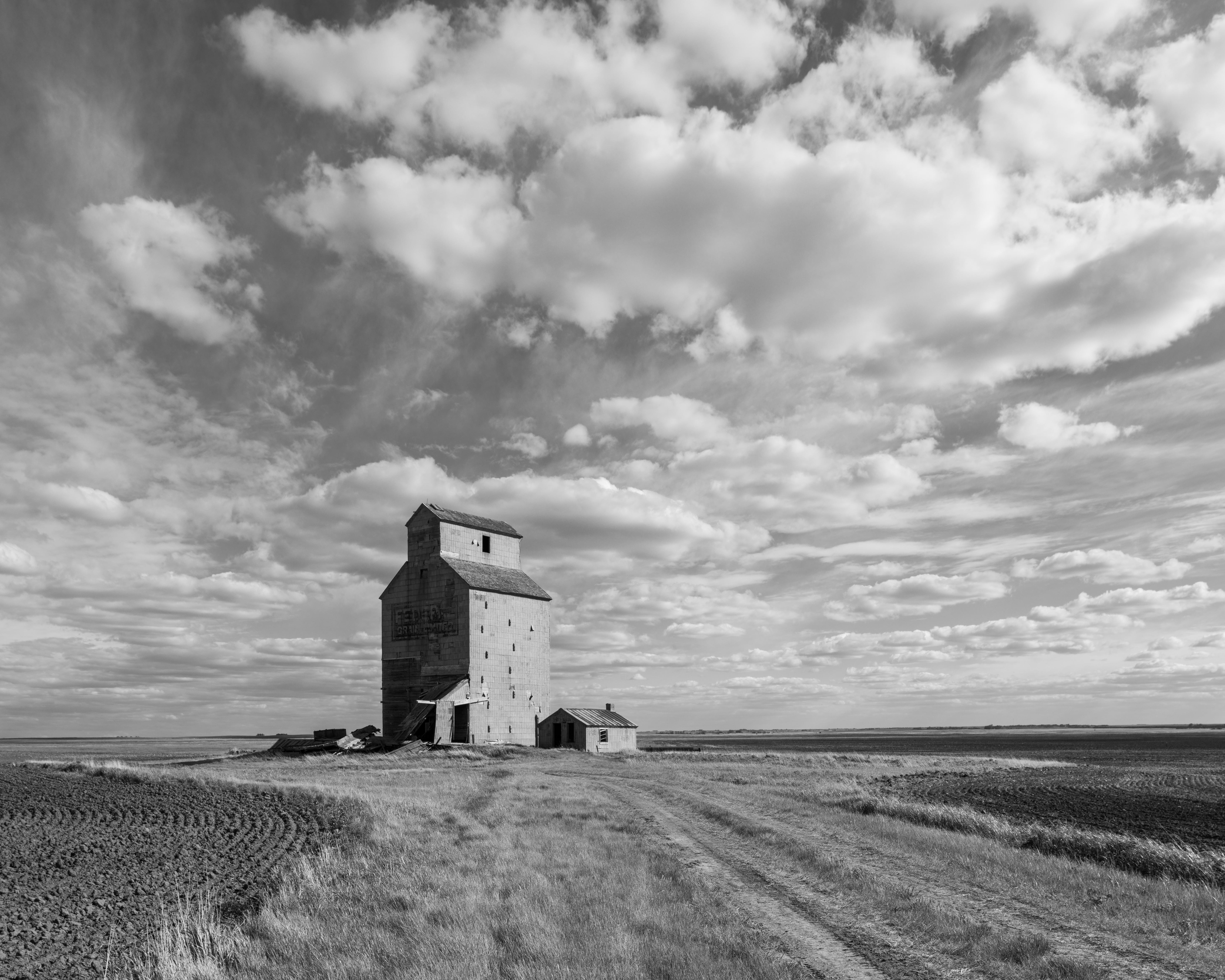 Grain elevator and cloudscape, Saskatchewan