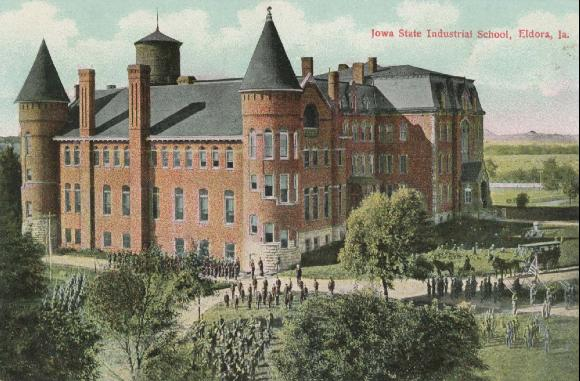 The Iowa Industrial School for Boys as it looked during its early history. Postcard Dated 1910, courtesy of [Iowa's Town Bands](http://iowastownbands.com/e1x-eldoraindust.html)